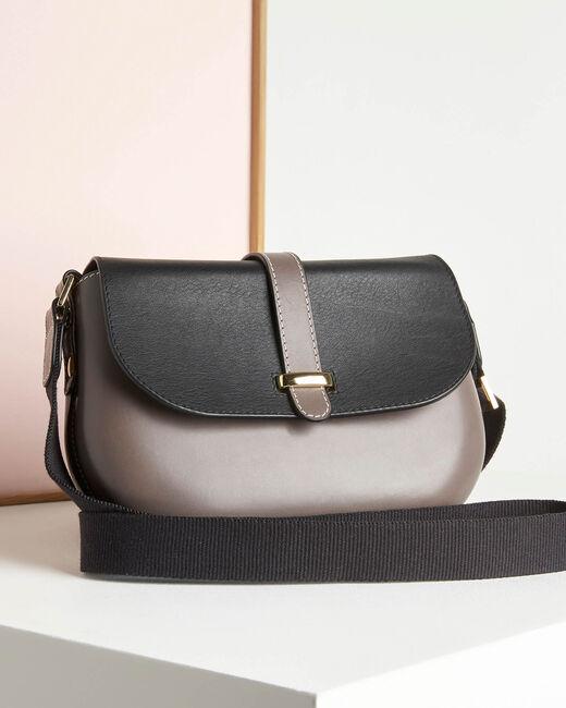 Vaalgrijze en zwarte leren tas met schouderband Doris (1) - 37653