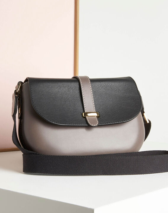 Doris two-tone pale grey leather shoulder bag (2) - 1-2-3