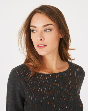 Pull anthracite à strass col rond pluie anthracite.