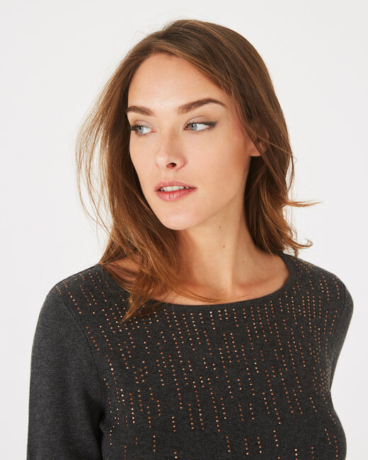 Pull anthracite à strass col rond Pluie (2) - 1-2-3