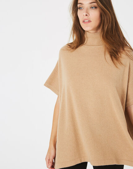 Passiflore camel cashmere cape with polo neck (3) - 1-2-3