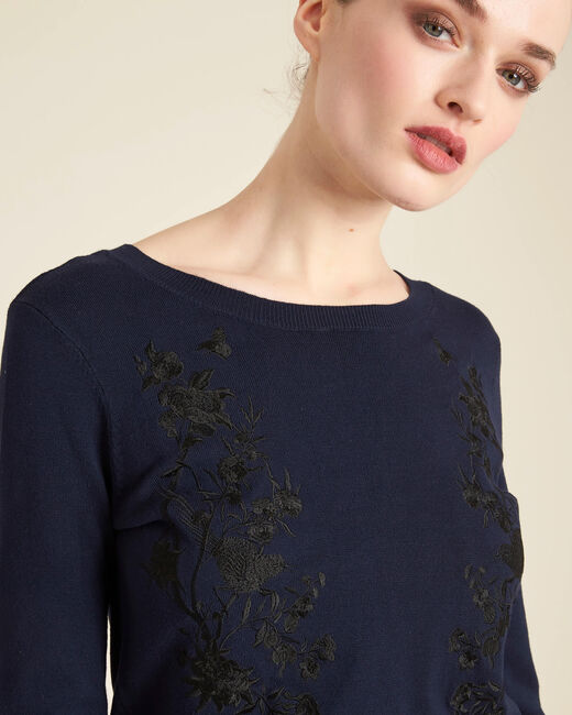 Nouba navy blue embroidered sweater with bow on the back (2) - 1-2-3