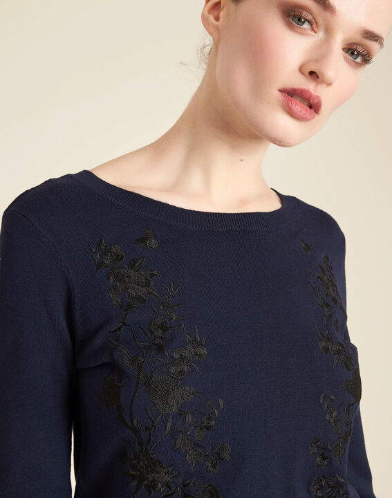 Nouba navy blue embroidered sweater with bow on the back PhotoZ | 1-2-3