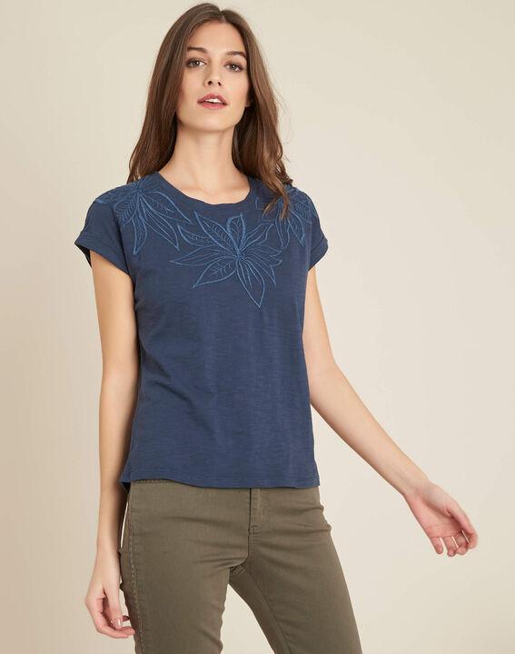 Blaues T-Shirt mit Blumenstrickereien Ebrode (3) - 1-2-3