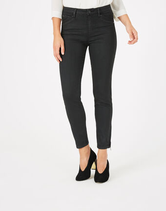 Pia black 7/8 length coated trousers black.