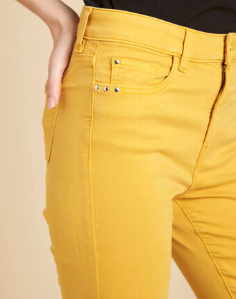 Gelbe washed slim-fit-jeans normale leibhöhe vendome sonnengelb.