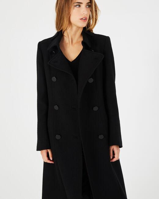 Manteau long noir en laine Johan (1) - 1-2-3