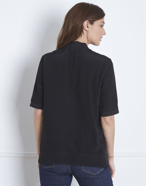 Virginie black V-neck flowing blouse (4) - Maison 123