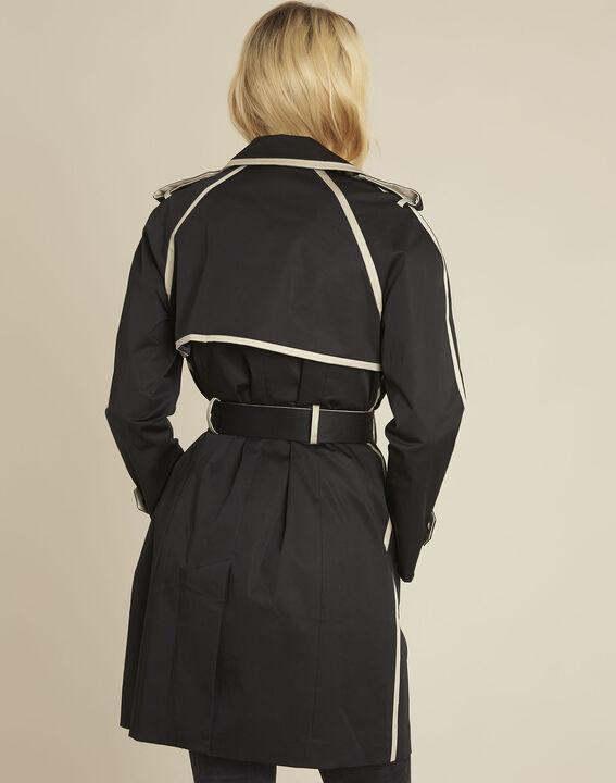 Schwarzer paspelierter Trenchcoat Eloise (4) - 1-2-3