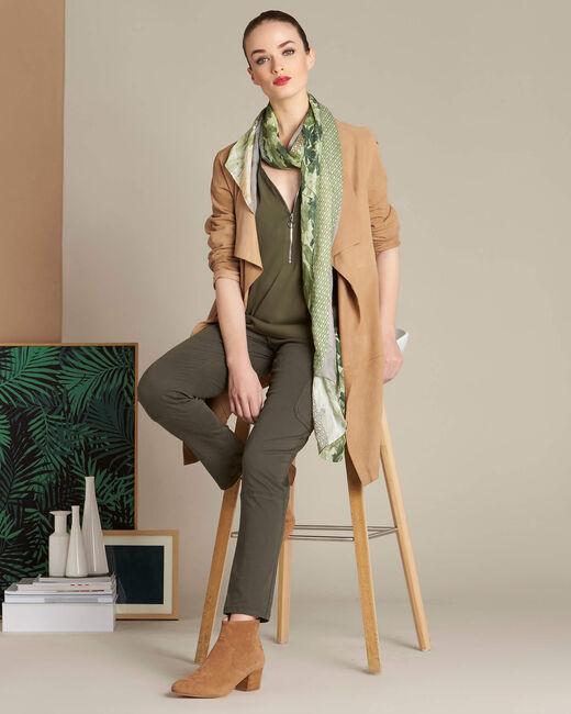 Galia khaki blouse with zipped neckline (1) - 1-2-3