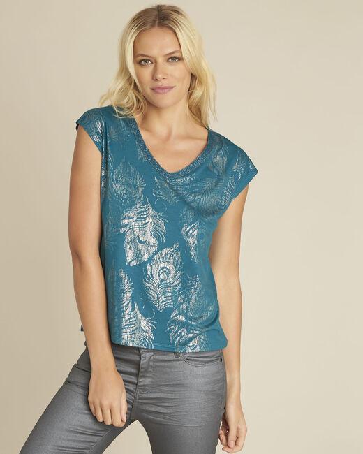 Smaragdgroen shirt met print Genight (2) - 37653