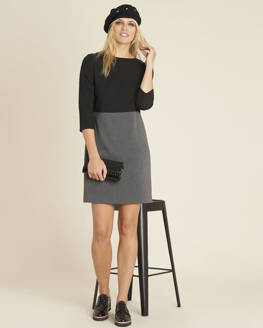 Dandy dual-fabric charcoal dress (1) - 1-2-3