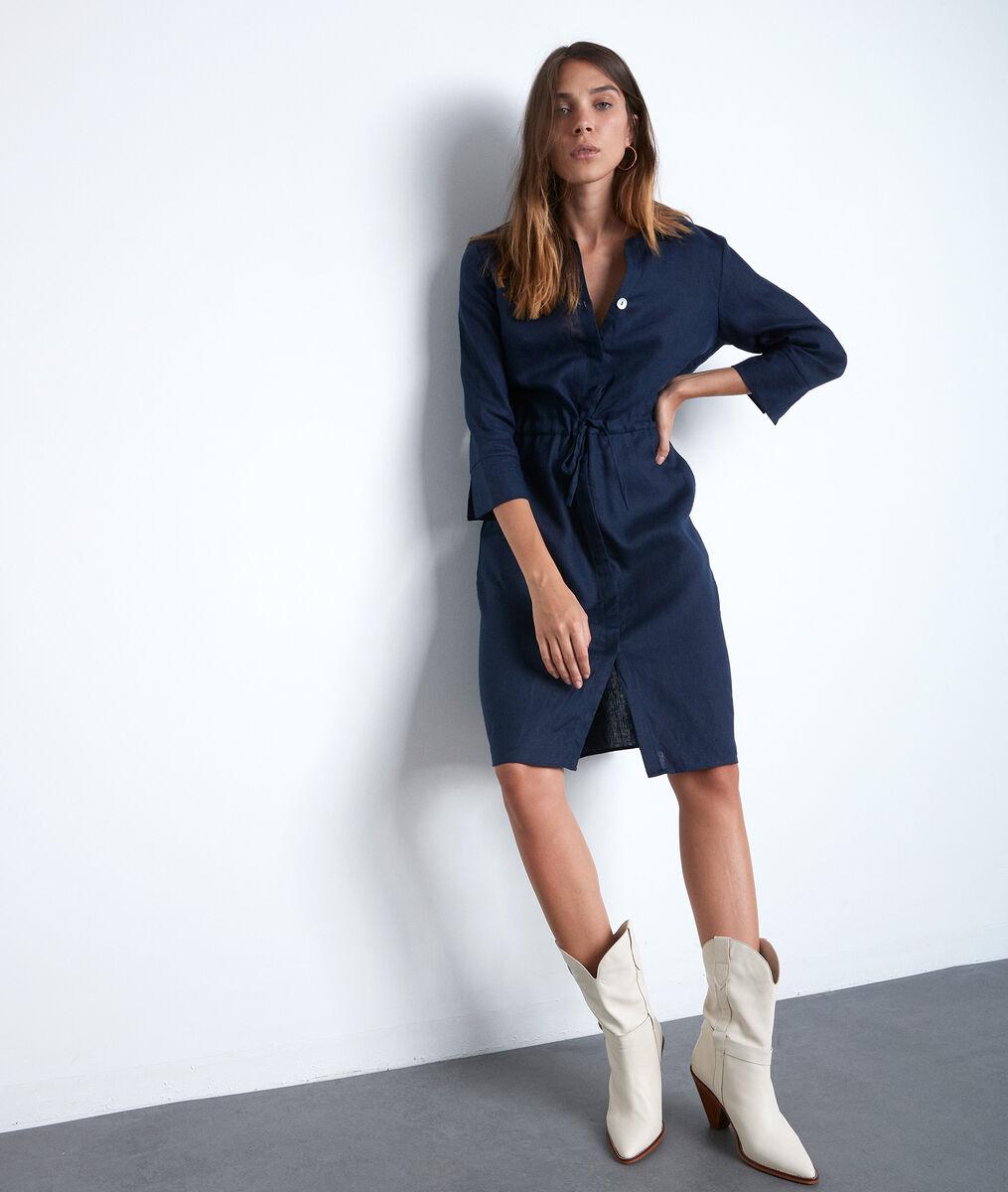 Robe chemise bleue en lin certifié Luna PhotoZ | 1-2-3