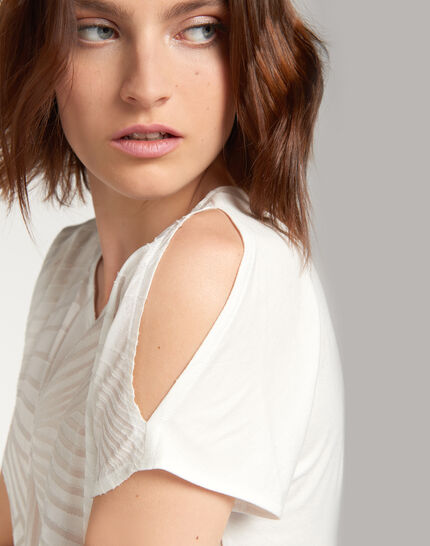 Tee-shirt écru imprimé géométrique Nanako (4) - 1-2-3
