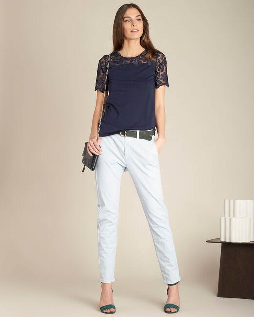 Marineblaues Spitzen-T-Shirt Esmeralda (1) - 1-2-3