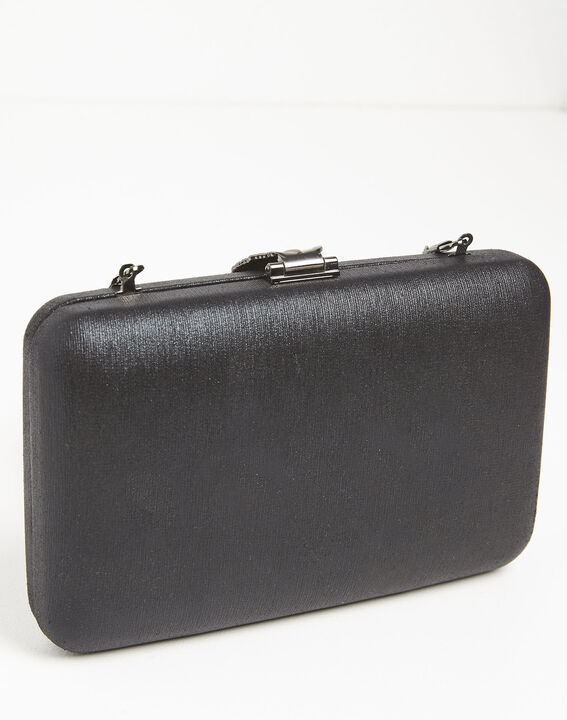 Isla black clutch bag with silver feather clasp (4) - 1-2-3