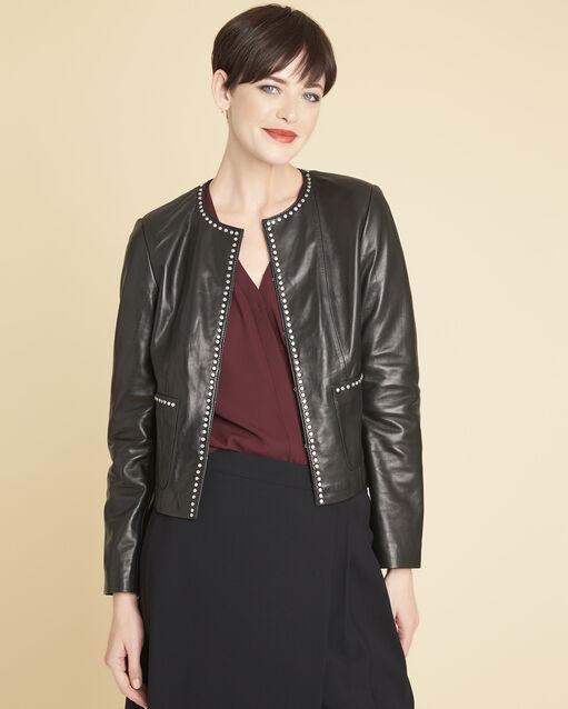 Veste noire en cuir détails cloutés Vanessa (1) - 1-2-3