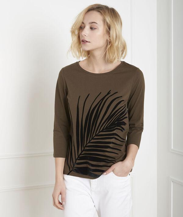 Tee-shirt kaki imprimé palme Perrine PhotoZ | 1-2-3