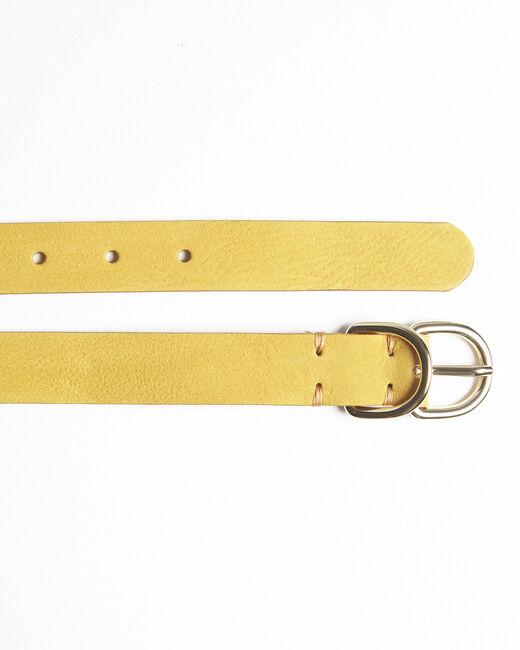 Ceinture jaune fine double boucle en cuir Quorentin (1) - 1-2-3