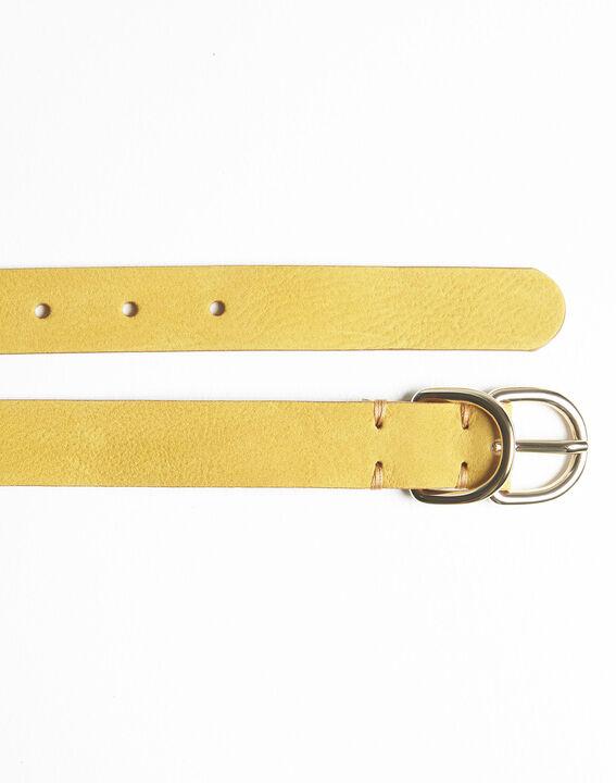 Schmaler gelber Ledergürtel mit Doppelschnalle Quorentin (3) - Maison 123