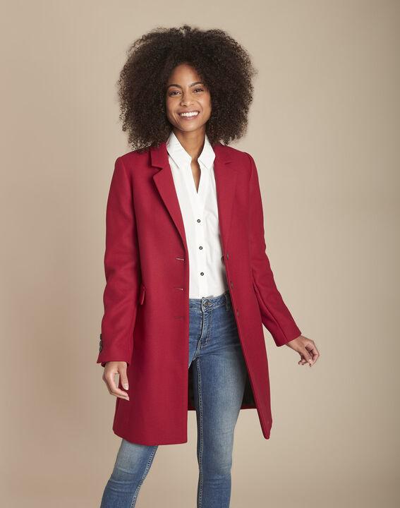 Manteau droit rouge en laine mélangée Plume PhotoZ | 1-2-3