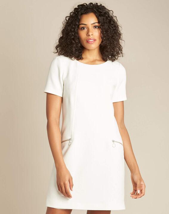 Weißes gerades Kleid mit Reißverschluss-Details Amanda (3) - 1-2-3