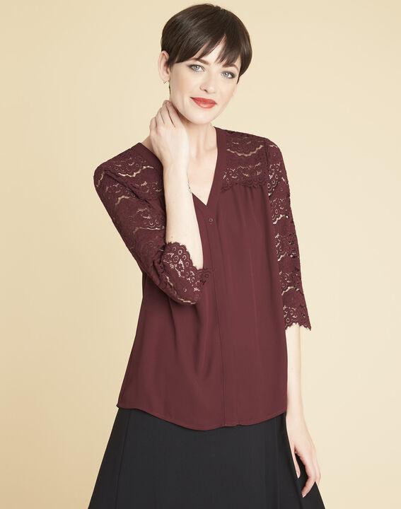 Bordeauxrode blouse van kant Colette PhotoZ | 1-2-3