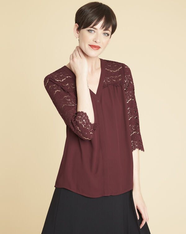 Colette burgundy blouse in lace (1) - 1-2-3