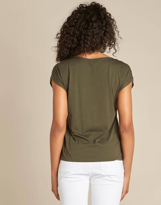 T-shirt kaki broderie plume Epine (4) - 1-2-3