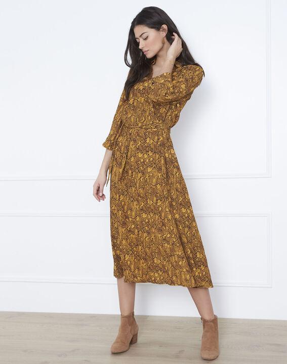 Robe jaune imprimé serpent longue Laetitia (2) - Maison 123