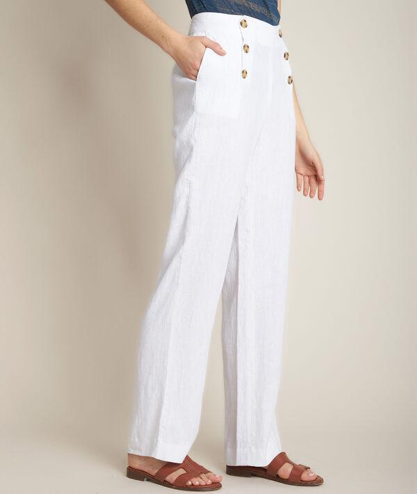 Pantalon à pont en lin blanc Iber PhotoZ | 1-2-3