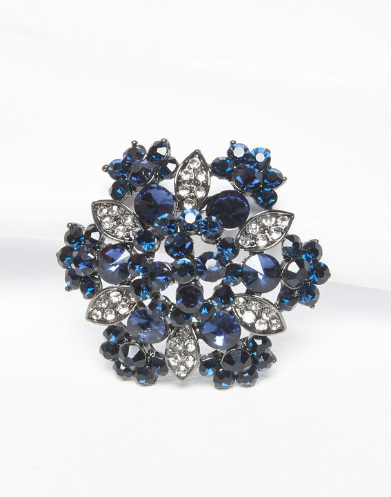 Xane silver and navy blue floral brooch (2) - 1-2-3