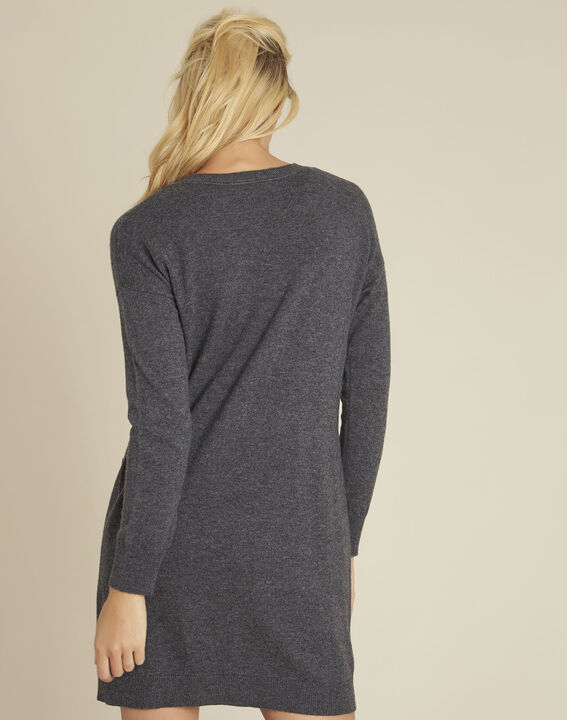 Baltus grey knit dress with faux leather pocket (4) - Maison 123