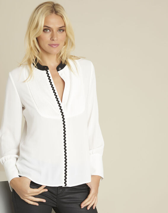 Clea ecru bib front and bias blouse (1) - 1-2-3