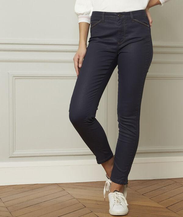 Marineblaue beschichtete 7/8-Jeans Slim Reißverschluss-Details PhotoZ | 1-2-3