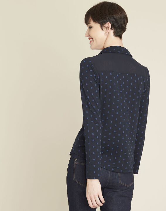 Gaby navy polka dot print t-shirt (4) - 1-2-3