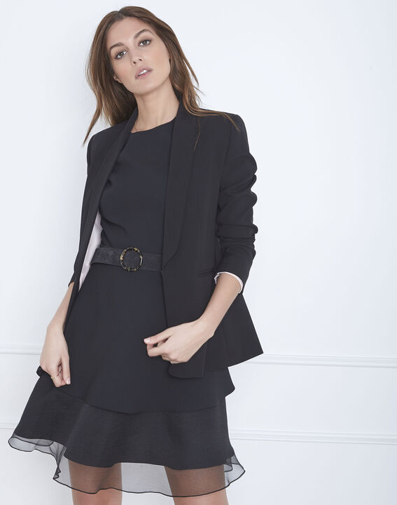 Schwarzes Kleid aus Bimaterial und Organza mit Volant Hypolite (2) - Maison 123