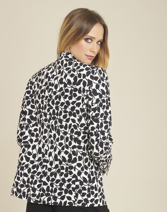 Printed black and white leaf print jacket (4) - 1-2-3