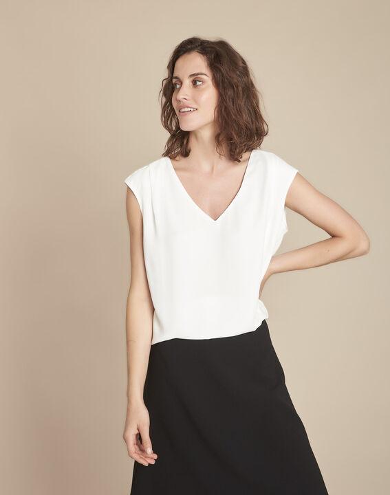 Neptune V-neck beige blouse (1) - 1-2-3