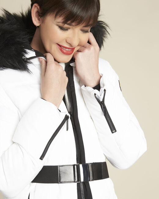 Pipa long white hooded down jacket (2) - 1-2-3