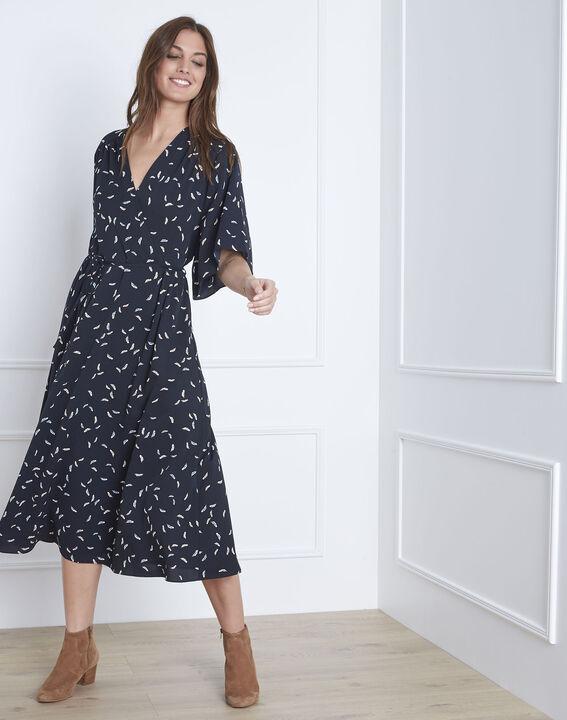 Langes, marineblaues Kleid mit Printmuster Lune (1) - Maison 123