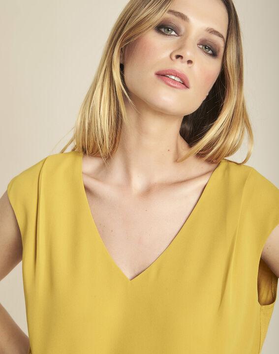 Amberkleurige blouse uit twee stoffen met V-hals Neptune (3) - 37653
