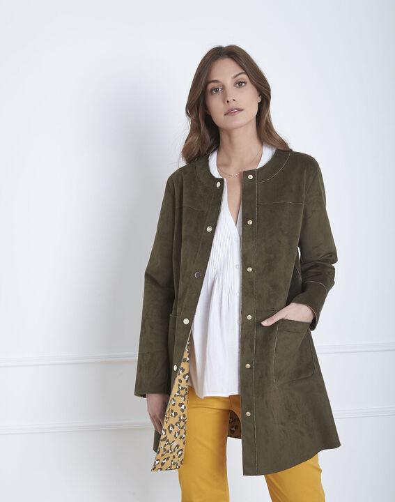 Fabiana khaki leather effect coat (1) - Maison 123