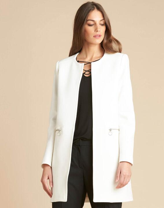Manteau blanc droit 3/4 détails zips Kaya (3) - 1-2-3