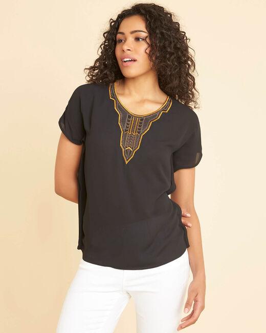 Tee-shirt noir brodé perles bimatière Nomos (2) - 1-2-3