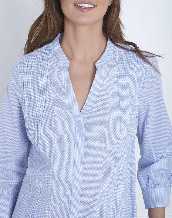 Blaue, gestreifte Hemdbluse Vivica (3) - Maison 123