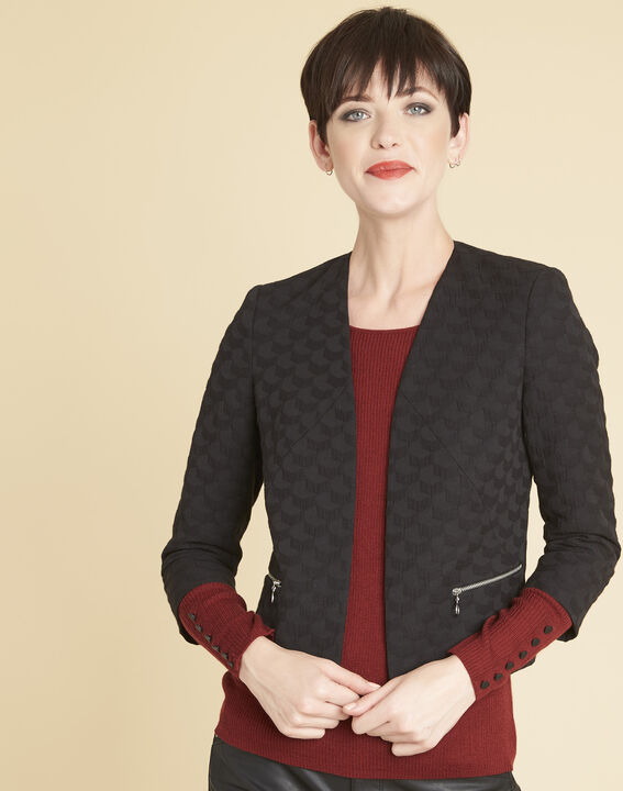 Embossed black Stan jacket with zipper details (1) - Maison 123