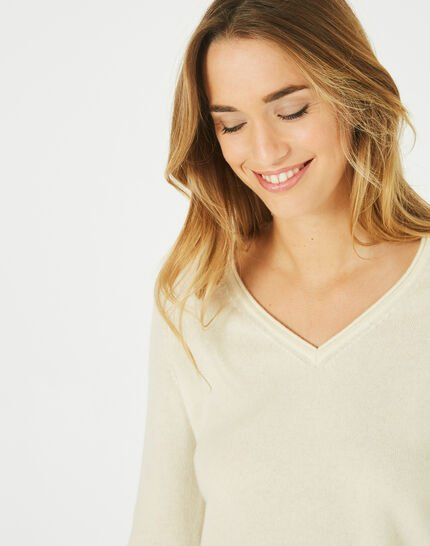 Pivoine ecru V-neck sweater in cashmere (3) - 1-2-3