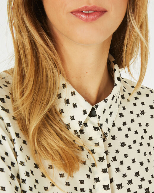 Dolores panther print black and white blouse (1) - 1-2-3