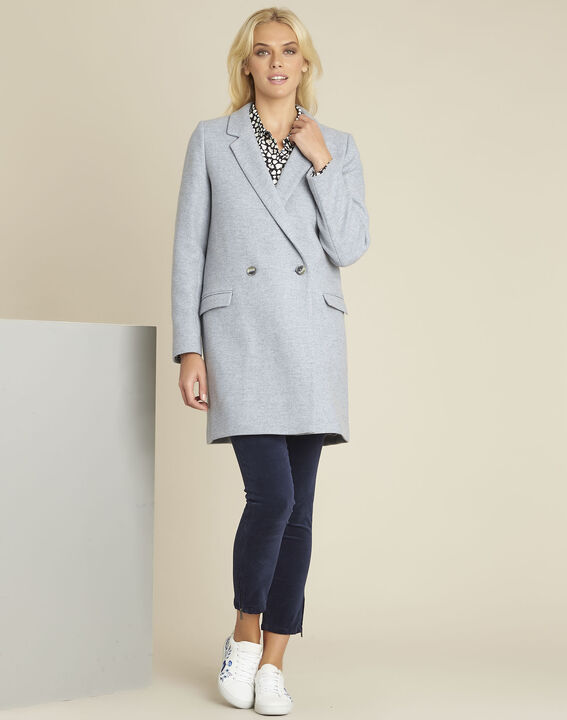 Eclat azure blue cross-over wool coat (2) - 1-2-3